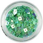 Pătrate verde turcoaz - decoraţiune nail art cu gaură