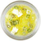 Pătrat transparent - decoraţiune nail art galbenă, cu gaură