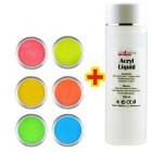 Set culori neon 6buc + lichid acril 100ml GRATIS