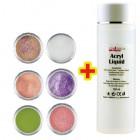 Pudră Glitter Color Set II. 6buc + Lichid Acrilic 100ml GRATIS