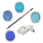 Set sclipici albastru - set de pudre acrilice colorate