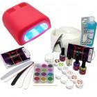 Kit unghii cu gel, lampă UV roșu 36W - sistem în trei faze