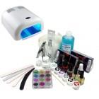 Kit unghii cu gel, lampă UV argintie 36W - sistem în două faze