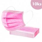 10buc, mască de față cu bandă elastică - roz, 3 straturi