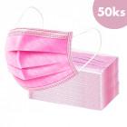 50buc, mască de față cu bandă elastică - roz, 3 straturi