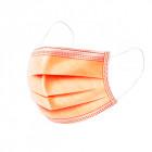 Mască de față cu bandă elastică - portocaliu, cu 3 straturi