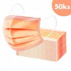 50buc, mască de față cu bandă elastică - portocaliu, cu 3 straturi