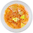 Triunghi cu gaură, portocaliu închis, sidefat - nail art